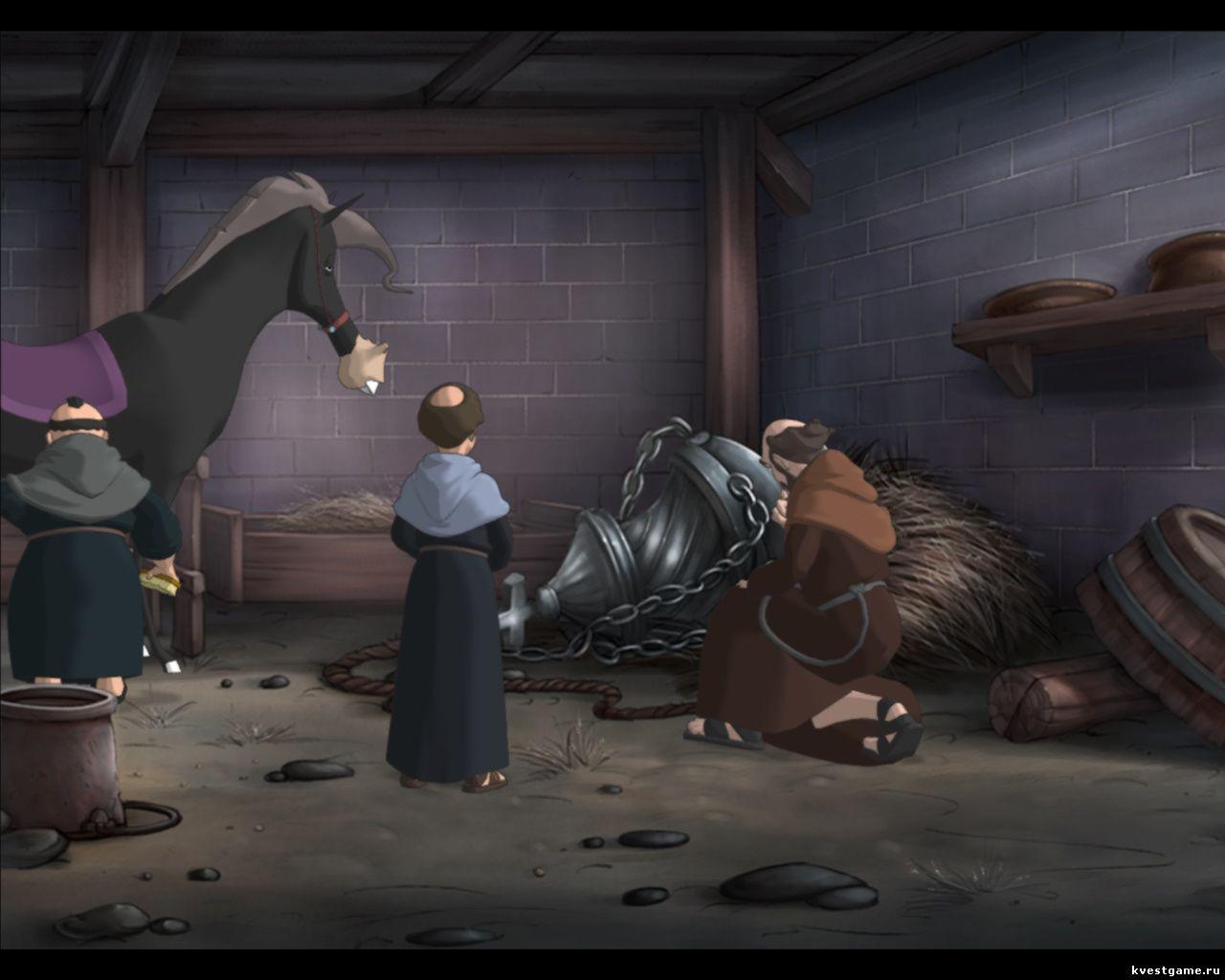 Murder in the Abbey - Леонардо осматривает орудие убийства Ансельма (глава 1)