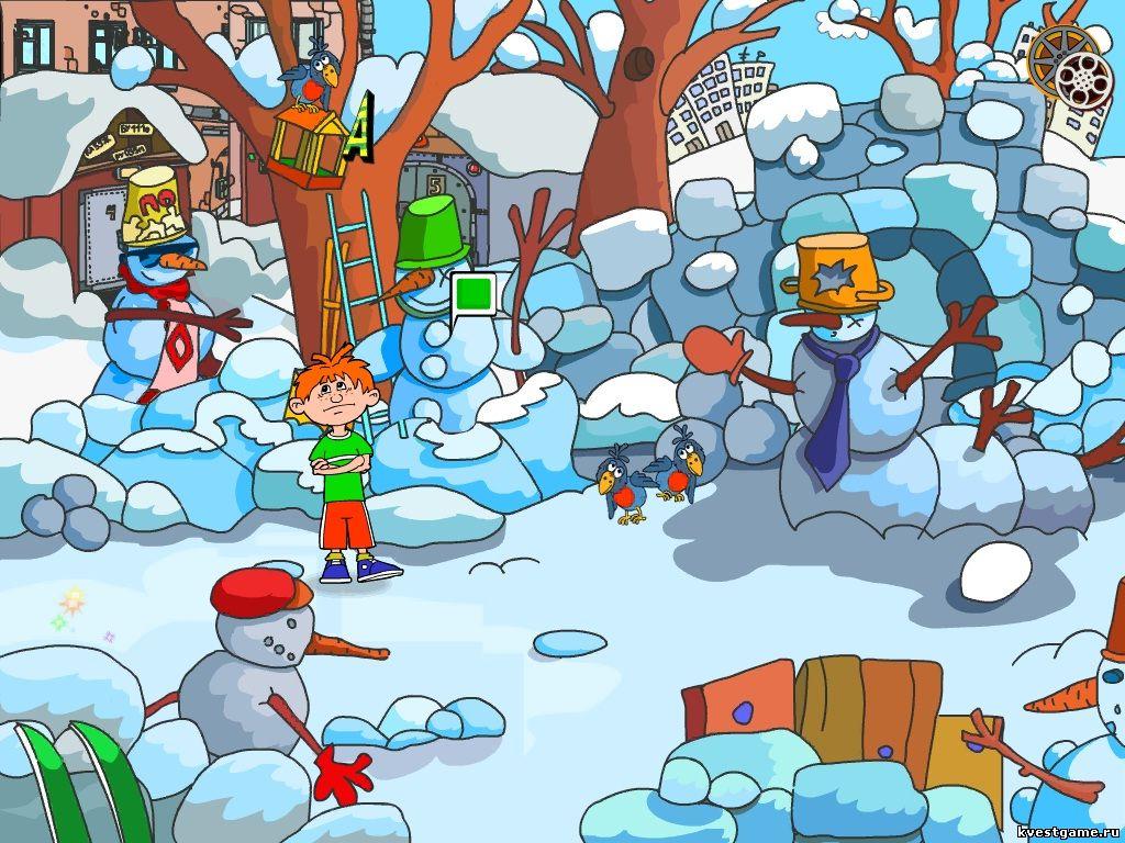 Гоша общается со снеговиками