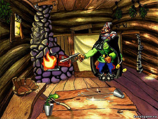 Чапаев разжигает огонь в бане