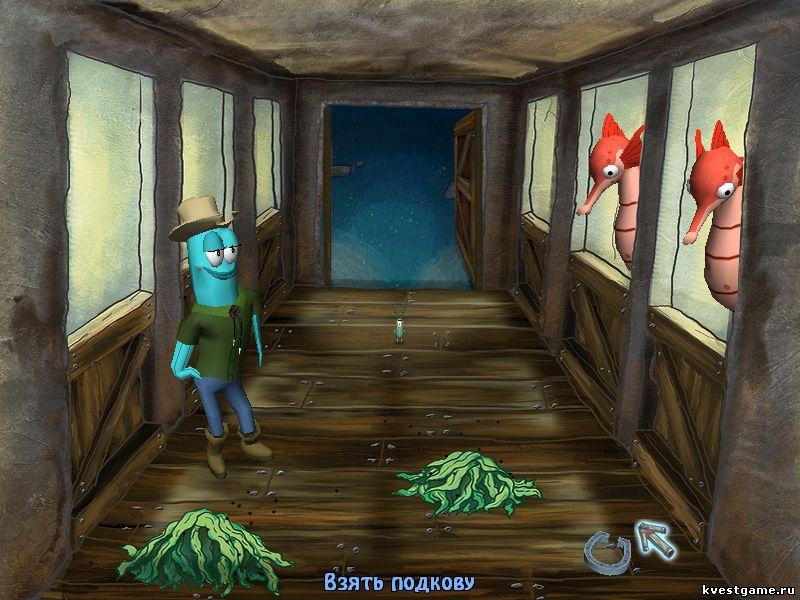 Губка Боб квадратные штаны: Игра по фильму - Планктон нашел подкову в конюшне (уровень 2)