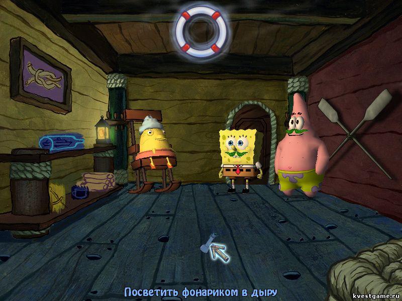 Губка Боб квадратные штаны: Игра по фильму - СпанчБоб изучает дырки в полу (уровень 5)