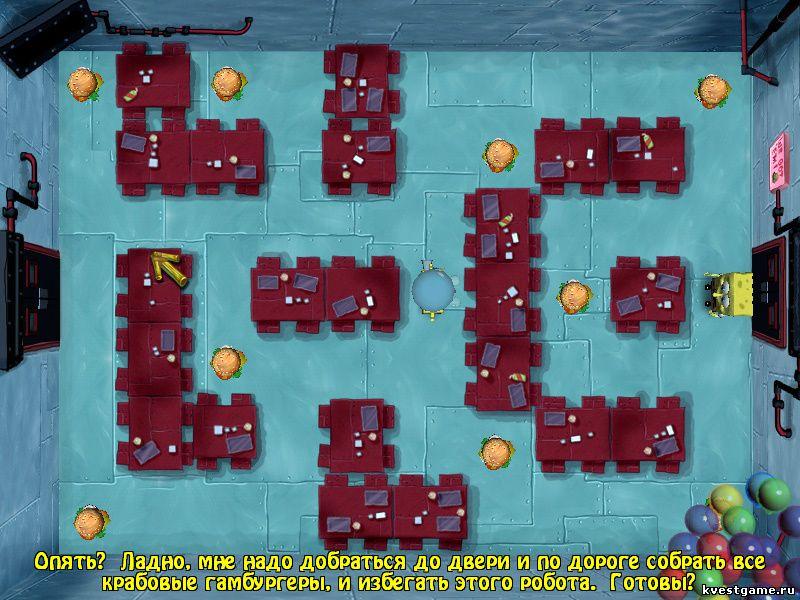 Губка Боб квадратные штаны: Игра по фильму - СпанчБоб убегает от робота Планктона (уровень 8)
