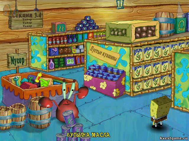 СпанжБоб в магазине (Spongebob Squarepants: Employee of the Month (уровень 1))