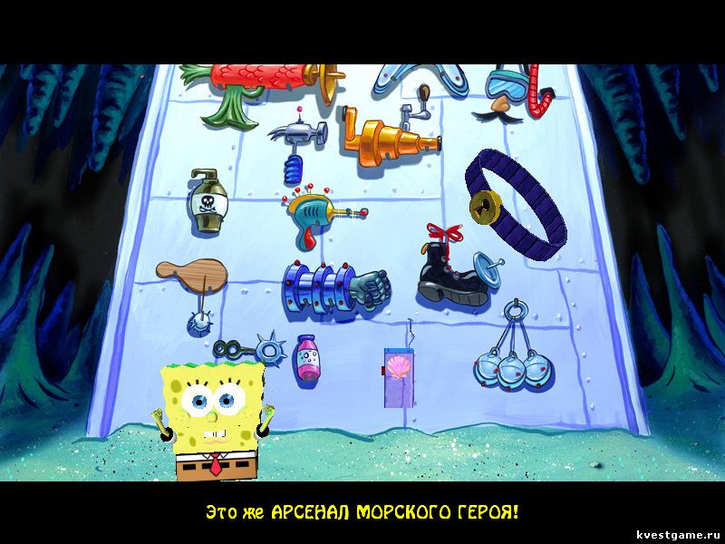 СпанчБоб берет пояс-щекотун и ракушкофон (Sponge Bob Squarepants: Lights, Camera, Pants! (уровень 1))